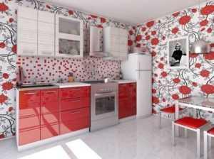 Обои на кухню под красный гарнитур