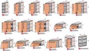 Размеры кухонных шкафов: стандарты, чертежи, какие бывают  (7 фото)