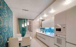 Расположение светильников на кухне: натяжной потолок с источниками света