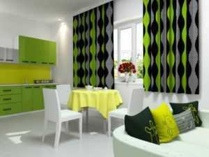 Зеленые шторы на кухню - как выбрать и с чем сочетать в интерьере